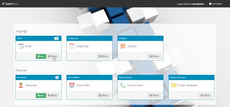 AppGini customized dashboard