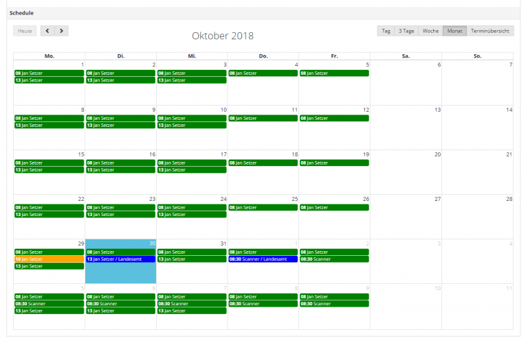 AppGini integrated resource calendar